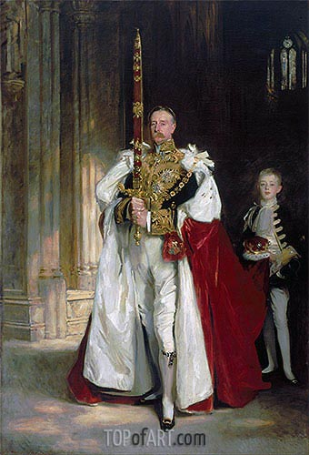 Charles Stewart, Sixth Marquess of Londonderry, Carrying the Great Sword of State at the Coronation of King Edward VII, 1904 | Sargent| Gemälde Reproduktion