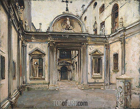 Courtyard of the Scuola Grande di San Giovanni Evangelista, Venice, 1913 | Sargent | Painting Reproduction