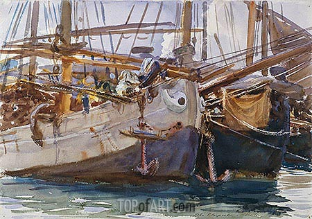 Boats, Venice, c.1908 | Sargent| Painting Reproduction