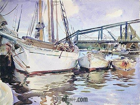 Boats at Anchor, 1917 | Sargent | Painting Reproduction