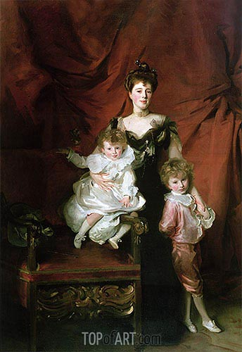 Mrs William Marshall Cazalet and Two of Her Children, 1900 | Sargent | Painting Reproduction