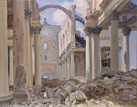 Ruined Cathedral, Arras, 1918 | Sargent| Painting Reproduction