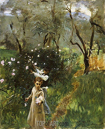 Gathering Flowers at Twilight, undated | Sargent| Gemälde Reproduktion