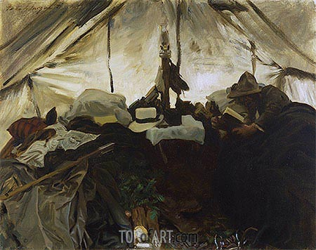 Inside a Tent in the Canadian Rockies, 1916 | Sargent | Gemälde Reproduktion