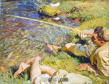 Val d'Aosta: A Man Fishing, c.1907 | Sargent| Painting Reproduction