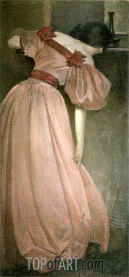 John White Alexander | Portrait Study in Pink (The Pink Gown), 1896
