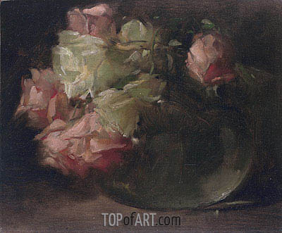 White and Pink Roses, c.1886 | John White Alexander | Painting Reproduction