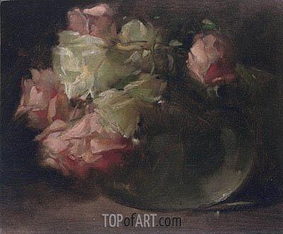 John White Alexander | White and Pink Roses, c.1886