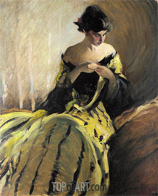 John White Alexander | Study in Black and Green, c.1906