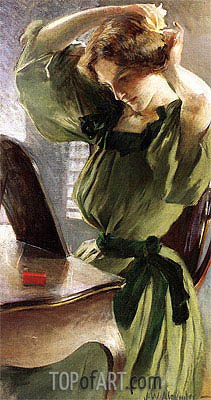 John White Alexander | Young Woman Arranging Her Hair, c.1890/95