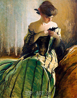 John White Alexander | Study in Black and Green, 1906