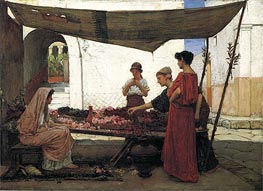 A Flower Stall (A Grecian Flower Market), 1880 by Waterhouse | Painting Reproduction