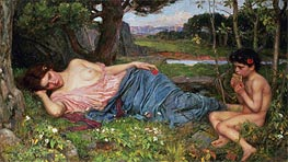 Listening to My Sweet Pipings, 1911 by Waterhouse | Painting Reproduction