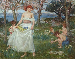 A Song of Springtime, 1913 by Waterhouse | Painting Reproduction