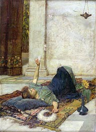 Dolce Far Niente (The White Feather Fan), 1879 by Waterhouse | Painting Reproduction