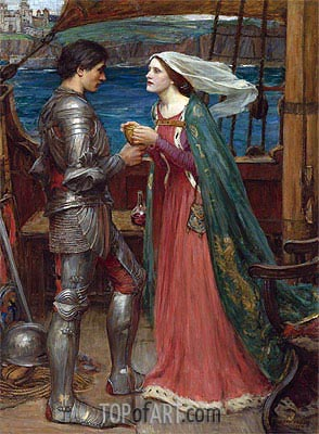 Tristan and Isolde with the Potion, 1916 | Waterhouse | Painting Reproduction