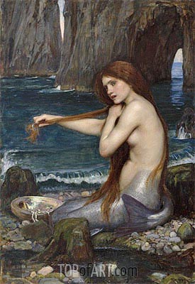 A Mermaid, 1900 | Waterhouse| Painting Reproduction