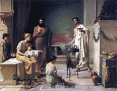 Sick Child Brought into the Temple of Aesculapius, 1877 | Waterhouse | Painting Reproduction