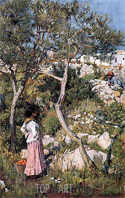 Two Little Italian Girls by a Village, c.1889 | Waterhouse | Painting Reproduction
