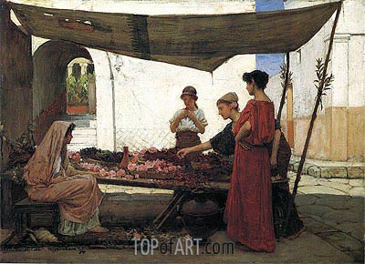 A Flower Stall (A Grecian Flower Market), 1880 | Waterhouse| Painting Reproduction