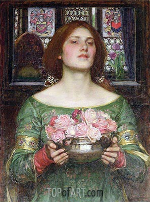 Gather Ye Rosebuds While Ye May, 1908 | Waterhouse| Painting Reproduction