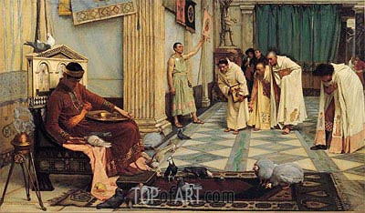 The Favourites of the Emperor Honorius, c.1883 | Waterhouse | Gemälde Reproduktion