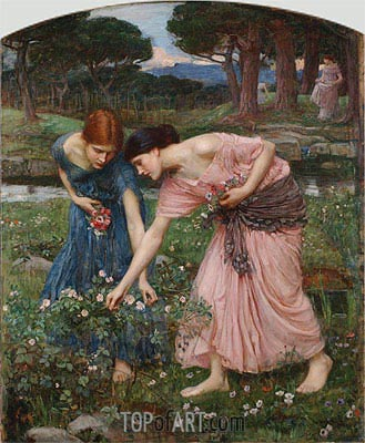 Gather ye Rosebuds while ye may, 1909 | Waterhouse| Painting Reproduction