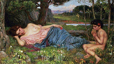 Listening to My Sweet Pipings, 1911 | Waterhouse| Painting Reproduction