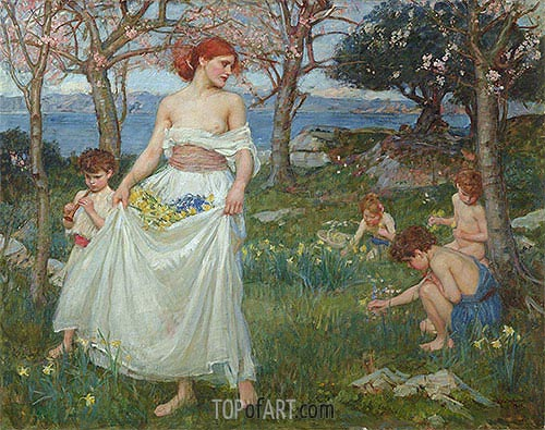 A Song of Springtime, 1913 | Waterhouse | Painting Reproduction