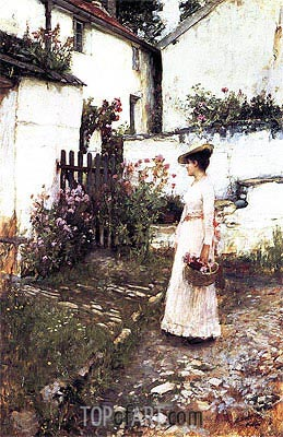 Waterhouse | Gathering Flowers in a Devonshire Garden, c.1892/93