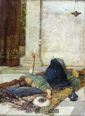 Dolce Far Niente (The White Feather Fan), 1879 | Waterhouse| Painting Reproduction