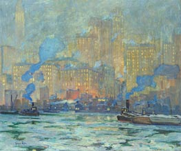 Afterglow, c.1913 by Jonas Lie | Painting Reproduction