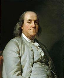 Benjamin Franklin, c.1785 von Joseph-Siffred Duplessis | Gemälde-Reproduktion
