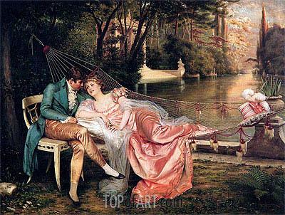 Flirtation, Undated   Soulacroix   Painting Reproduction