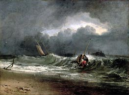 Fishermen upon a Lee-Shore in Squally Weather, undated by J. M. W. Turner | Painting Reproduction