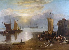 Sun Rising through Vapour: Fishermen Cleaning and Selling Fish, b.1807 von J. M. W. Turner | Gemälde-Reproduktion