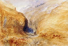 Mountainous Landscape (A Swiss Pass), c.1848/50 by J. M. W. Turner | Painting Reproduction