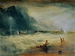 Life-Boat and Manby Apparatus Going Off to a Stranded Vessel Making Signal (Blue Lights) of Distress, c.1831 by J. M. W. Turner | Painting Reproduction