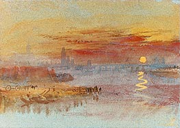 Sunset on Rouen | J. M. W. Turner | Painting Reproduction