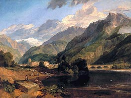 Bonneville, Savoy, with Mont Blanc, 1803 by J. M. W. Turner | Painting Reproduction