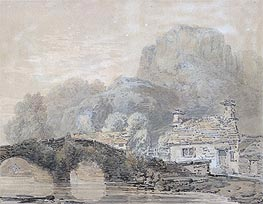 Cottage by a Bridge (Beddgelert Bridge, North Wales), undated by J. M. W. Turner | Painting Reproduction
