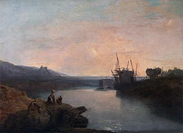 Harlech Castle from Twgwyn Ferry, Summer's Evening Twilight, undated by J. M. W. Turner | Painting Reproduction