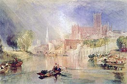 Worcester Cathedral and River Severn, undated by J. M. W. Turner | Painting Reproduction