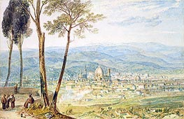 Florence from the Road to Fiesole, undated by J. M. W. Turner | Painting Reproduction