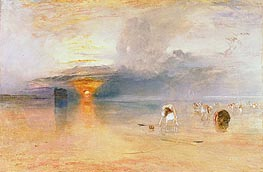 Calais Sands at Low Water, Poissards Gathering Bait, 1830 by J. M. W. Turner | Painting Reproduction