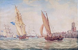 Three Sloops of War and a Fishing Smack going into Harbour, Portsmouth | J. M. W. Turner | Gemälde Reproduktion