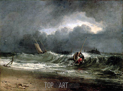 Fishermen upon a Lee-Shore in Squally Weather, undated | J. M. W. Turner | Painting Reproduction
