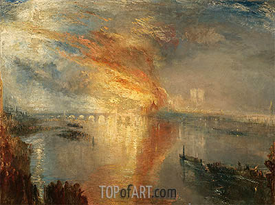 The Burning of the Houses of Lords and Commons, 16 October 1834, 1835 | J. M. W. Turner| Painting Reproduction