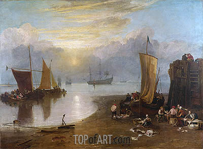 Sun Rising through Vapour: Fishermen Cleaning and Selling Fish, b.1807 | J. M. W. Turner| Gemälde Reproduktion