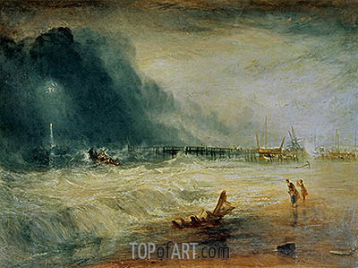 Life-Boat and Manby Apparatus Going Off to a Stranded Vessel Making Signal (Blue Lights) of Distress, c.1831 | J. M. W. Turner| Painting Reproduction